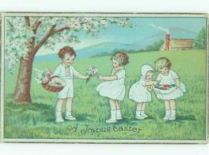 Pre-Linen Easter KIDS COLLECTING EGGS AND FLOWERS AB4244