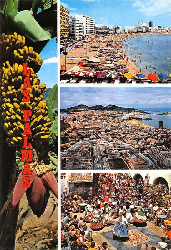 Spain Las Palmas de Gran Canaria, Views of the Town Playa Beach Dancers Bananas