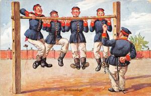 Klimmzüge Pull Ups Military Training Germany WWI era postcard