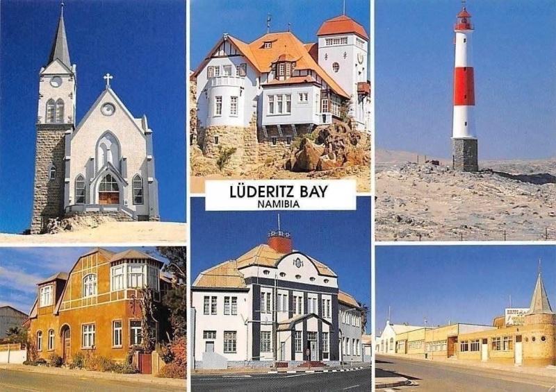 Namibia Luberitz Bay The German Lutheran Church, Georke House, Lighthouse