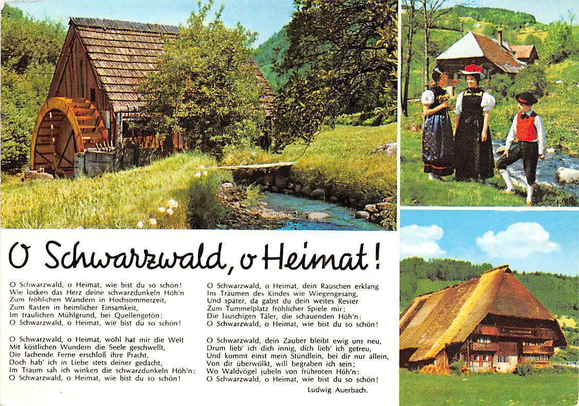 O Schwarzwald O Heimat Muehle Mill Creek Traditional Costumes House Hippostcard