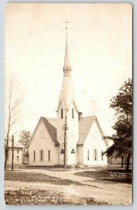 Kalkaska Michigan~United Methodist Episcopal Church~Dirt Intersection~c1910 RPPC