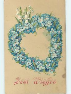 Pre-Linen Valentine BEAUTIFUL HEART MADE OF FORGET-ME-NOT FLOWERS HL5912