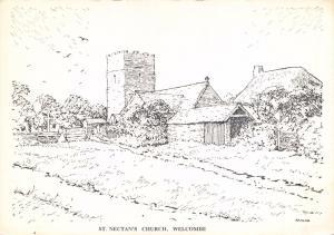 Postcard Art Sketch WELCOMBE St. Nectan's Church, Devon #W