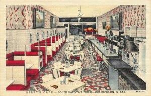 Derby's Cafe, Chamberlain, South Dakota, Early Postcard, Unused