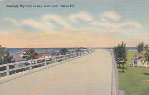 Seagoing Highway To Key West From Pigeon Key Florida Curteich