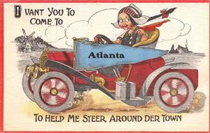 Come to Atlanta New York~Help Me Steer Around Town~1913 Car Pennant Postcard