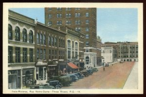 h1626 - TROIS RIVIERES Quebec Postcard 1930s Rue Notre Dame. Stores Old Cars