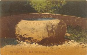 F12/ Conneaut Ohio Postcard 1909 Big Rock Fountain J.B Tyler