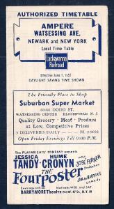 LACKAWANNA Railroad Timetable Newark NJ to Ampere NY c1952