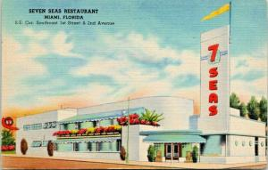 Miami Florida~Seven Seas Restaurant~ART DECO Architecture~1st Street~1945 Linen