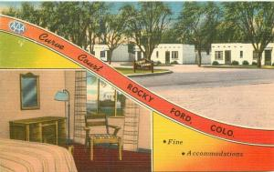 Curve Court Rocky Ford Colorado Highway 50 1940s Postcard Nationwide 3069