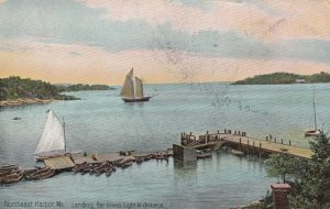 NORTHEAST HARBOR, Maine, 1909; Landing, Bar Island Light in distance, sailboats