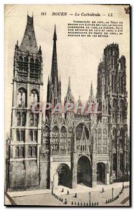 Old Postcard Rouen Cathedral