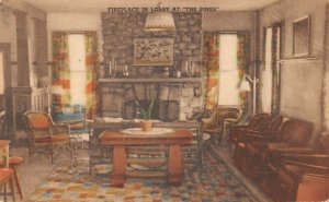 LPS73 Canadensis Pennsylvania Pines Hotel Lobby Hand Colored Postcard Albertype