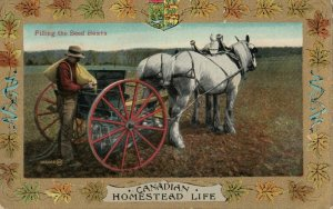 Homestead Life , Canada , 1900-10s ; Filing the seed boxes