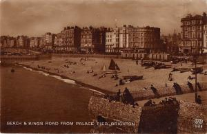 BR79297 brighton beach and kings road from palace pier real photo  uk