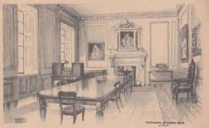 St Bartholomews Hospital London Committee Room 1929 Old Reconstruction Postcard