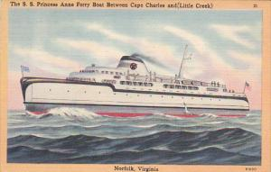 S S Princess Anne Ferry Boat Between Cape Charles and Little Creek Norfolk Vi...