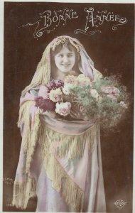 RP: Woman holding Basket of Flowers , Bonne Annee , 00-10s