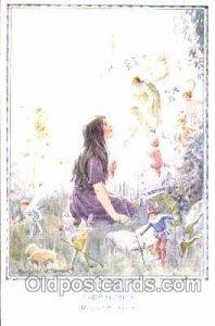 Artist Margaret W. Tarrant, Gnomes, Elves, 1929 light postal marking on top e...