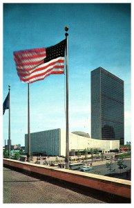 United Nations Secretariat Building Flag Postcard