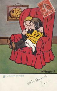 AS; Boy and Girl cuddling in Red Chair, PU-1918; TUCK # 546
