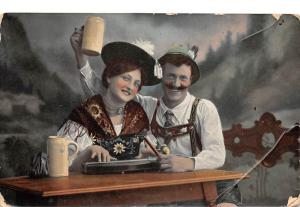 Vintage Traditional Folklore Costumes, Couple, Celebration, Drink 1907