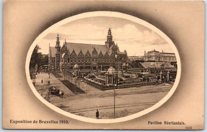 Brussels International 1910 Expo Postcard Pavillon Neerlandais Dutch Exhibit