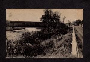 ME Lowe Covered Bridge Piscataquis River Maine Postcard Guilford