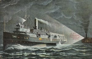 STEAMER; PU-1908;  D. & C. Line Steamers Passing at Night