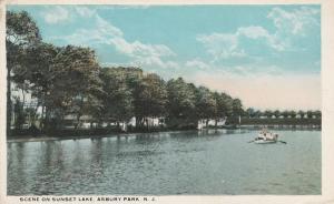 Boating Scene on Sunset Lake - Asbury Park NJ, New Jersey - WB
