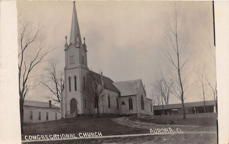 E81/ Aurora Ohio RPPC Postcard c1910 Congregational Church