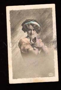 001847 Young Lady w/ KITTEN vintage PHOTO Russian tinted PC