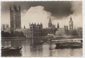 Houses of Parliament, London, 1958 used Real Photograph Postcard