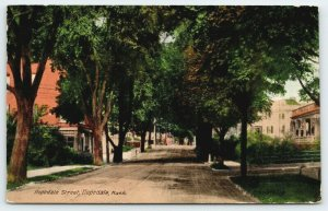 Hopedale MA~Main Street~Businesses~Shade Trees Over Trolley Tracks~Porch~1910