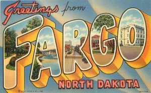 Fargo North Carolina large Letters Multi Independent Teich Postcard 21-10483