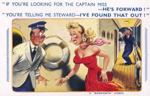 Sexy Lady Sailor Ship Captain Bamforth Comic Humour Postcard