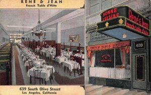 Rene & Jean French Table d'Hote Restaurant, Los Angeles, early linen postcard
