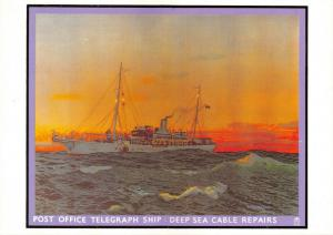 SPECIAL CANCEL Postcard Post Office Telegraph Ship Deep Sea Cable Repairs 50S