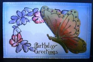 Postcard Mechanical Popup Butterfly Birthday Greetings C37
