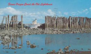 Abandoned Lighthouse & Sea Wall Along the Coast, Bandon, Oregon 1981