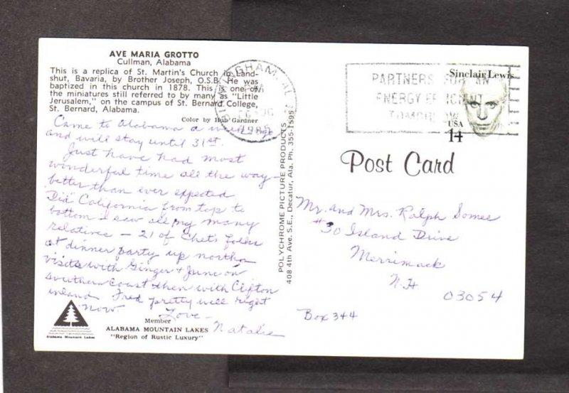 AL Ave Maria Grotto Miniatures Church Cullman Alabama Postcard