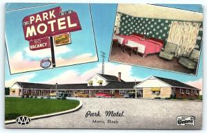 Postcard IL Morris Park Motel Multiview Interior 1950's F06