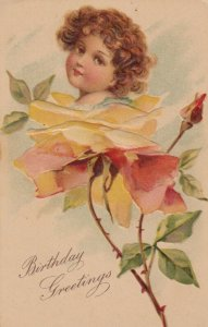 AS: BIRTHDAY, 1900-10s; Child's face in Yellow Rose