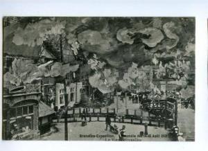 173514 BELGIUM BRUXELLES EXPOSITION 1910 FIRE Vintage postcard
