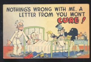 HOSPITAL DOCTOR BED CURE FOR A LETTER VINTAGE COMIC POSTCARD MWM CO.