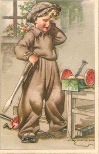 ·Hard working boy Nice Spanish postcard 196'0s