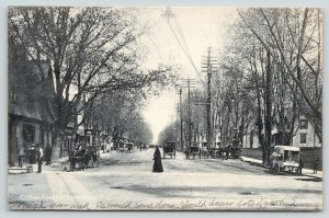 Lakewood New Jersey~Clifton Avenue~Nun Crosses Street~Delivery Wagons~1908 B&W
