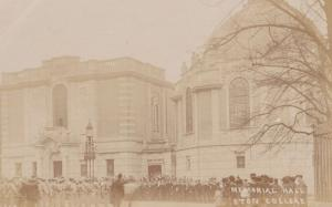 Crowd Gathering Eton College Memorial Hall Windsor Antique Real Photo Postcard
